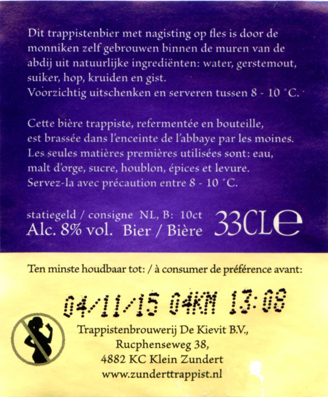 Brasserie De Kievit - Zundert Trappist Etiq_De-Kievit_Zundert_2